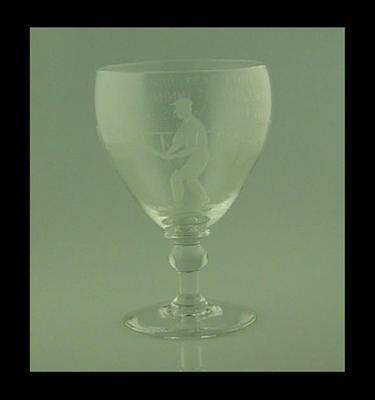 """Goblet, image of cricketer, inscribed  """"Final Test 1938"""""""