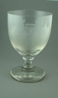 Goblet, image of cricket match in progress