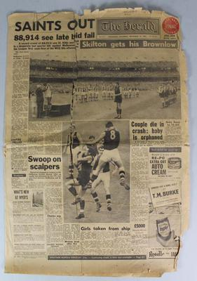 Newspaper, front page of 'The Herald' - 'Saints Out' - 14 September 1963; Documents and books; 1987.1551