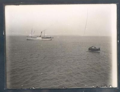 Photograph from Frank Laver's photograph album, view from passenger ship - 1905