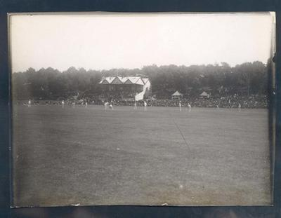 Photograph from Frank Laver's photograph album, Australia v New Zealand cricket match in progress - 1905