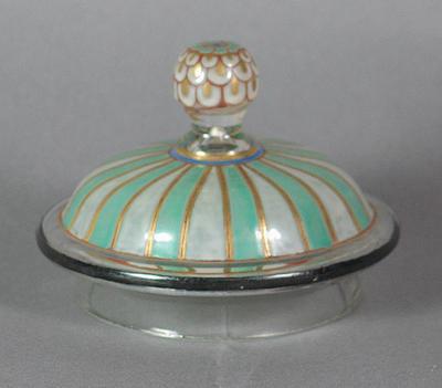 Glass jar lid, handpainted cricket design