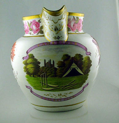 Coalport jug featuring an image of Cambridge Cricket Club, 1816-51