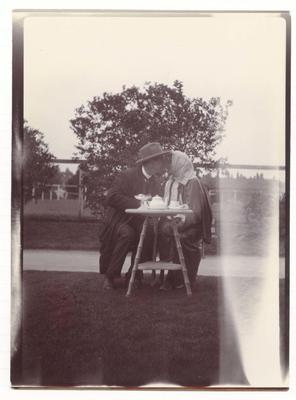 Photograph from Frank Laver's photograph album, Laver having tea in New Zealand - 1905