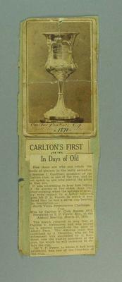Newsclipping and trade card regarding Carlton FC, 1871 season