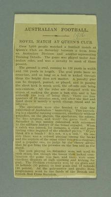 Newspaper clipping regarding Australian Football Exhibition Game, 28 Oct 1916; Documents and books; 1988.2011.3