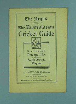 "Booklet, ""Cricket Guide: Records and Personalities of the South African Players"" c1931-32"