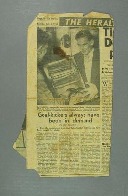 """Newspaper clipping, """"Goal-Kickers Always Have Been in Demand"""""""