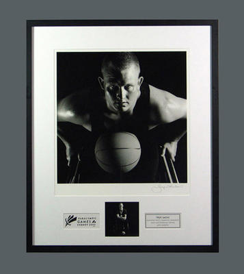 Framed photograph of Troy Sachs, 2000 Paralympic Games