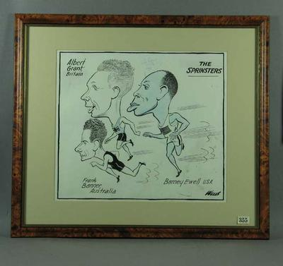 Cartoon depicting sprinters 1949, by Wells