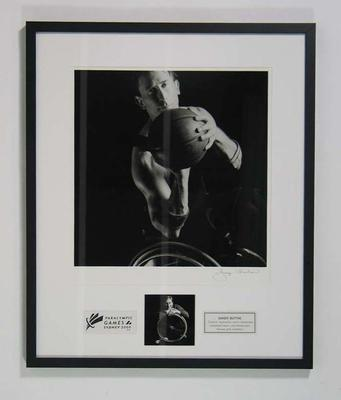 Framed photograph of Sandy Blythe, 2000 Paralympic Games