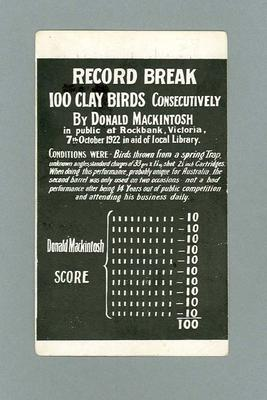 Postcard advertising Donald Mackintosh's record breaking clay bird shooting, 1922