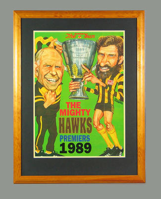 Poster - 'The Mighty Hawks' - Grand Final Premiers 1989; Documents and books; Framed; 2004.3987