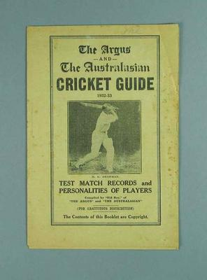"Booklet, ""The Argus and The Australian Cricket Guide 1932-33"""
