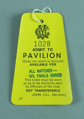 Melbourne Cricket Club pavilion pass, VFL Finals Series