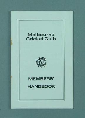 Melbourne Cricket Club Members Handbook, 1983