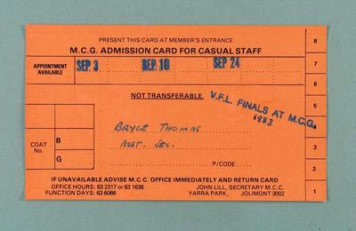 MCG staff admission card issued to Bryce Thomas, 1983 VFL Finals Series