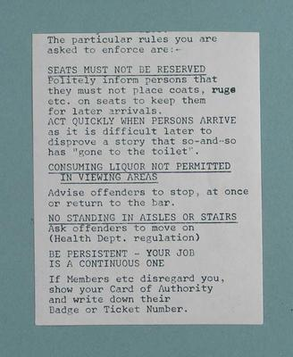 Notice of rules issued to Melbourne Cricket Club staff, c1983