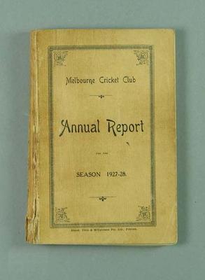 Annual report, Melbourne Cricket Club - season 1927/28