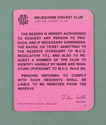 Card issued by MCC, authorising ticket and badge checks c1980s