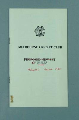 Booklet, Melbourne Cricket Club - Proposed New Set of Rules 1980