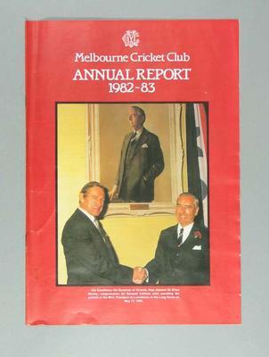 Melbourne Cricket Club Annual Report, season 1982-83