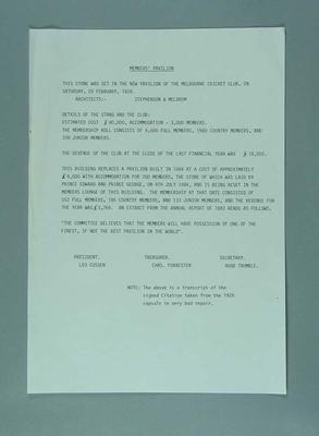Transcript of citation, 1928 Member's Pavilion time capsule