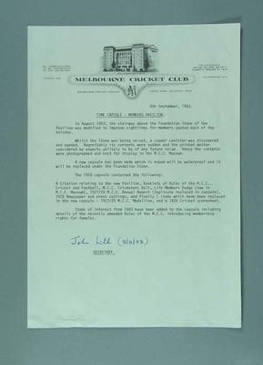 Notice detailing contents of MCC time capsules, 1928 & 1983