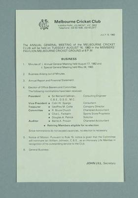 Notice of Melbourne Cricket Club Annual General Meeting, 16 Aug 1983