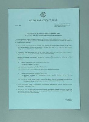 Notice regarding nomination of female members to Melbourne Cricket Club, 1983
