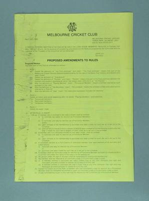 Notice, Proposed amendment to rules of Melbourne Cricket Club - April 1983