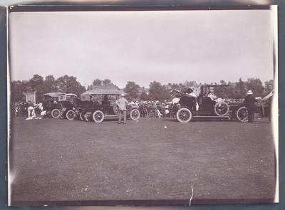 Photograph from Frank Laver's photograph album, cricket match in progress circa 1900