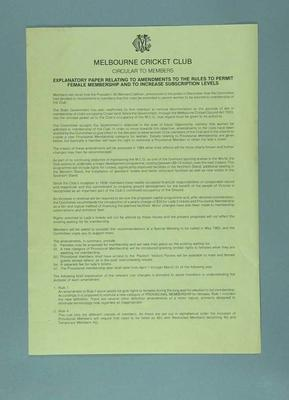 Notice, Proposal to admit female members to Melbourne Cricket Club - April 1983