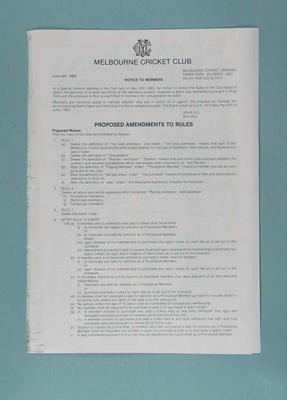 Notice, Proposed amendments to rules of Melbourne Cricket Club -  6 June 1983