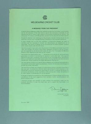Notice, A Message from the President - June 1983