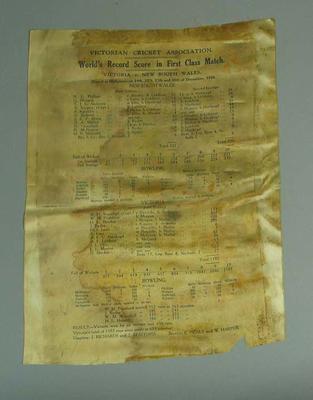 Silk scorecard, World's Record Score in First Class Match, Vic v NSW - Dec 1926