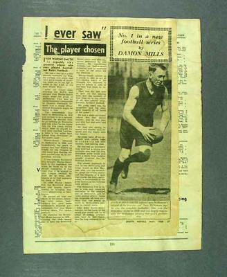 Newspaper clipping associated with life & career of Dave McNamara