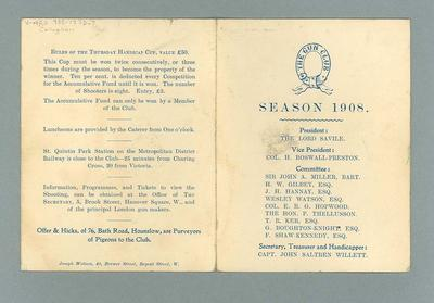Booklet, The Gun Club Season 1908