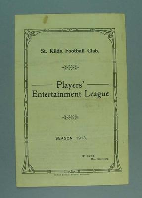 Pamphlet, St Kilda FC Player's Entertainment League 1913