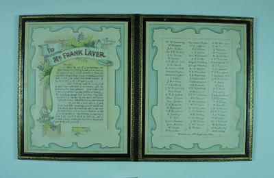 Illustrated address presented to Frank Laver, on the occasion of his marriage - 10 Sept 1914