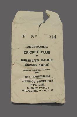 Envelope for Melbourne Cricket Club membership badge, season 1983/84