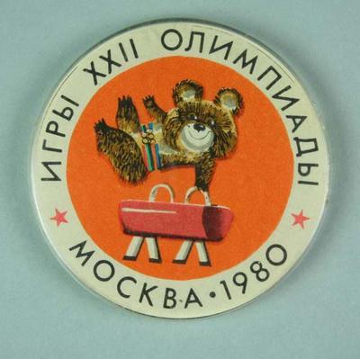 Badge, 1980 Olympic Games - Mishka the Bear (Gymnastics)