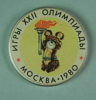 Badge, 1980 Olympic Games - Mishka the Bear (Olympic Torch)