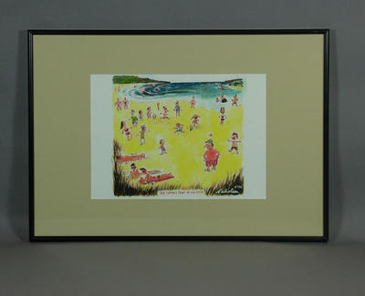 """Cartoon, """"The Turning Point of the Match"""" - by Peter Nicholson, 1996; Artwork; Framed; M10903"""