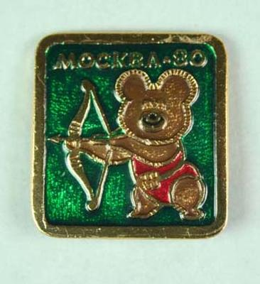 Badge, 1980 Olympic Games - Mishka the Bear (Archery)