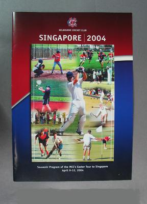 Programme, Melbourne Cricket Club tour to Singapore - April 2004