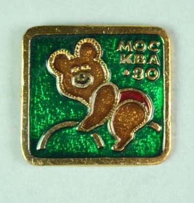 Badge, 1980 Olympic Games - Mishka the Bear (Cycling)