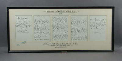 """Facsimile copy, """"The Rules of the Melbourne Football Club 1859""""; Documents and books; Framed; M10908"""