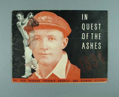 "Booklet, ""In Quest of the Ashes 1934"""