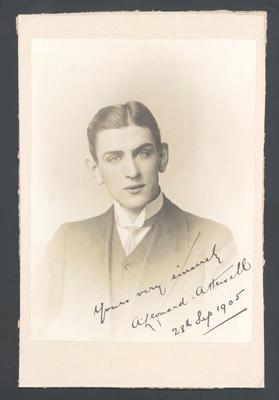 Photograph from Frank Laver's photograph album, A Leonard Attwell - 28 Sept 1905